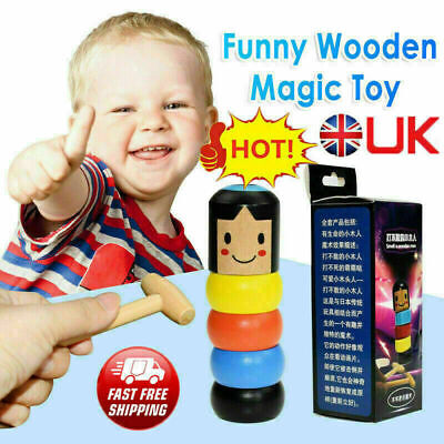 Unbreakable Wooden Magic Toy The Wooden Stubborn Man Toy FUNNY Gifts • 3.39£