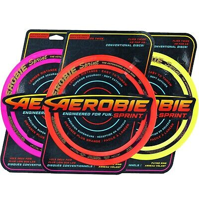 Aerobie Flying Ring Disc 25cm Sprint Outdoor Frisbee Fly Toy Soft Dog Catch Game • 8.99£