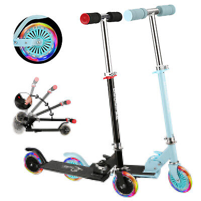 Kids Stunt Scooter Kick Push Scooter Light Up 2 Wheel T-Bar Foldable Adjustable • 15.99£