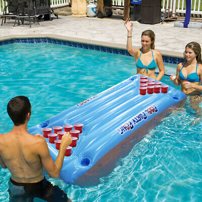 Pool Blue Fun Float Inflatable 24 Cup Holder PVC Beer Pong Table Air Mattress UK • 19.29£