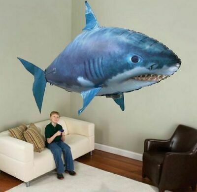 UK Remote Control Inflatable Balloon Air Swimmer Flying Shark Fish Radio Blimp • 12.99£