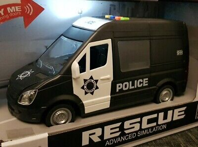 Friction Powered Large Police Van Toy Led & Sounds Boys Girls Car Toys 1:16 • 10.99£