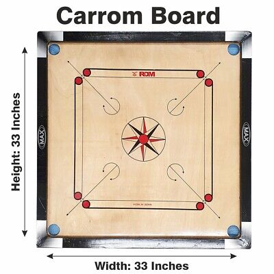 Large Carrom 32 X 32  Board, Coins & Striker Set Great Quality Family Game • 54.99£