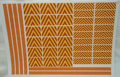 No12   Red & Yellow Chevrons & Orange Stripes Waterslide Clear Decals Code 3 • 3.50£
