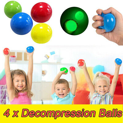 4Pcs Sticky Balls Sticky Balls For Ceiling Stress Relief Globbles Stress Toys • 7.12£