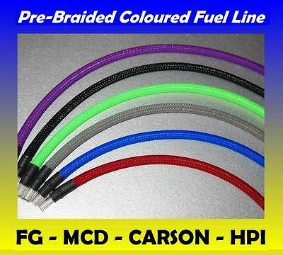 Braided Fuel Line Various Colours FG MARDER LOSI HPI BAJA ROVAN Petrol Tube Pipe • 14.95£