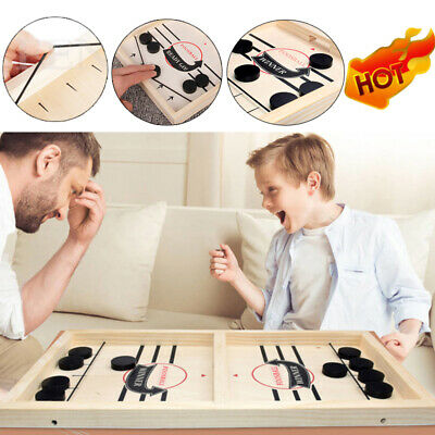 Hockey Game Wooden Table Game Sling Puck Game Family Fun Game Christmas Toy UK • 8.99£