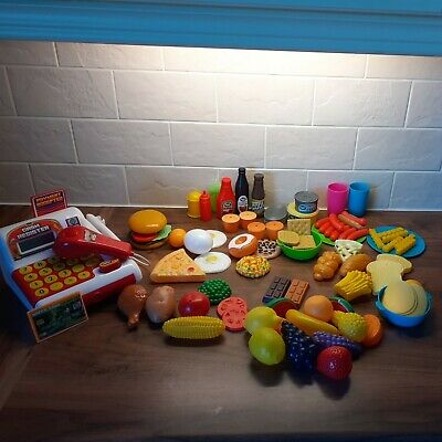 MIXED BUNDLE 105 ITEMS - PLAY PRETEND FOOD + CASH TILL With LIGHTS & SOUND - VGC • 7.99£