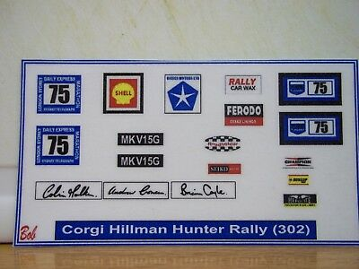 Corgi  Hillman Hunter Rally (302) Sticker Decals • 2.80£