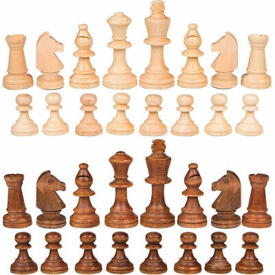 32PCS 91mm Wooden King Chess Crafted Set Large Chessman Hand Carved Pieces Toy • 10.59£