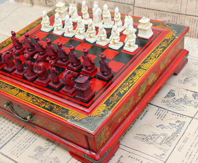 Large Antique Chinese Terra-Cotta Warriors Chess Set Chess Board Chess Gifts • 40.99£