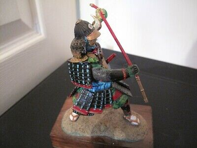 Painted Metal Figure Of A Samurai Warrior On Wooden Base 4in • 30£