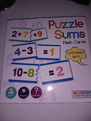 Let's Learn Puzzle Sums Flash Card Ackerman International Games Brand New • 3£