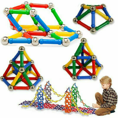 206Pcs Blocks Magnetic Educational Toys Tiles Building Kids Xmas Gifts DIY UK • 15.54£