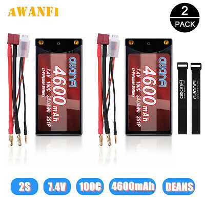 2X 7.4V 100C Shorty 2S 4600mAh Deans LiPo Battery Pack For RC Car Truck Buggy UK • 44.99£