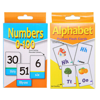 2 Sets Educational Alphabet And Number Cards English Toddler Kids Early Learning • 6.59£