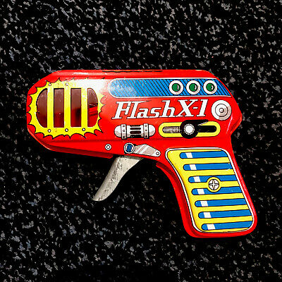 Vintage Tinplate SPACE GUN - FLASH X-1 Made In Japan By SHUDO - Working • 40£