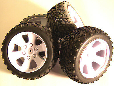 BS903-001 1/10 Scale Off Road Wheels / Tyres RC Nitro Truck Buggy X 4 White • 24.99£