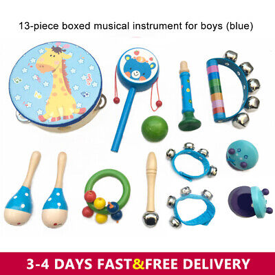 13PCs Wooden Kids Musical Instruments Set Toys Music Percussion Christmas Gifts • 15.99£