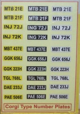 Corgi Type Number Plates ( Sticker ) Lot A • 2.80£