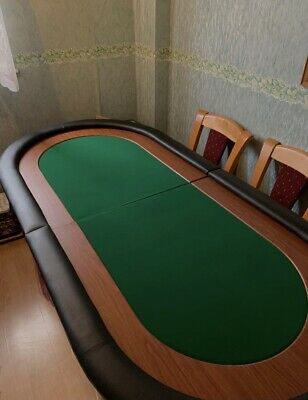 Folding Poker Table Top In Green Speed Cloth With Leather Arm Rest 6ft6 X 3ft • 50£