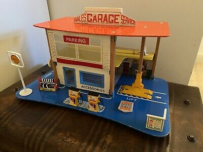 Vintage Fold Up Service Station Wooden Toy Garage Petrol Pump - With Box • 125£