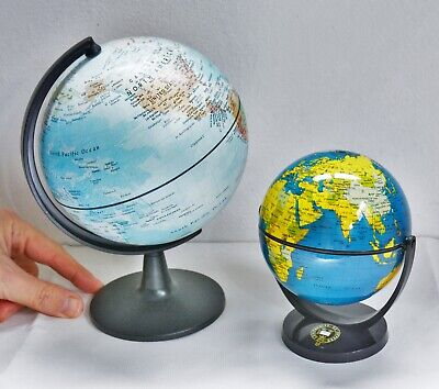 2 X DESKTOP GLOBES 15 & 11.5cm Diameter - Compact. Geography, Home Learning.  • 7.99£