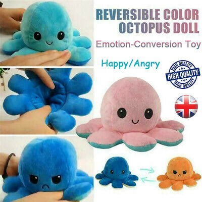Double-Sided Flip Reversible Octopus Plush Toys Marine Life Animals Doll Gifts R • 5.24£