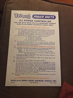Triang Vintage  Power Unit Instruction Leaflet • 1.50£