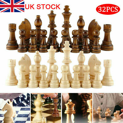 Premium 32 Piece Wooden Carved Small Chess Pieces Hand Crafted Set King Tool UK • 11.65£