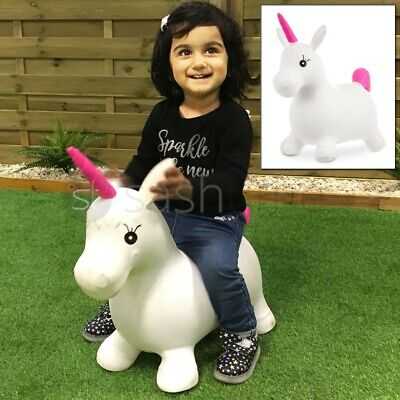 Kids Inflatable Unicorn Jump Bounce Space Hopper Outdoor Animal Ride On Toy Fun • 12.95£