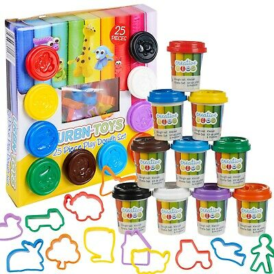 25 Pcs Craft Dough Kids Gift Toy Set Tubs & Shapes Children Xmas Hobby Play Clay • 7.99£