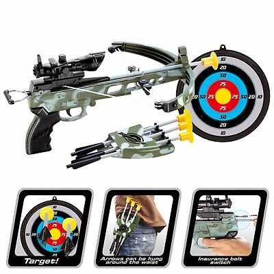 Kids Army Crossbow Set With Arrows Target Toy Archery Play Cross Bow Hunting Gun • 12.99£
