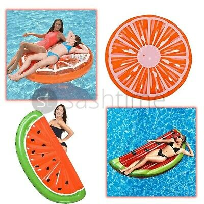 Inflatable Watermelon Orange Slice Island Lounger Air Float Lilo Swimming Pool  • 19.95£