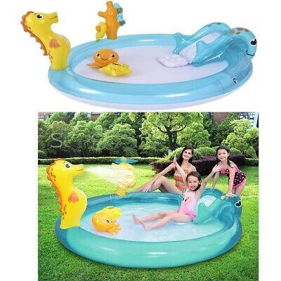 Inflatable Baby Swimming Paddling Pool Slide Toys Water Spray Outdoor Garden Fun • 49.95£