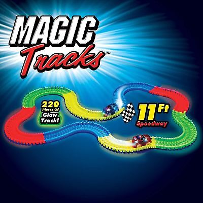 Magic Track 165 & 220 Glow In The Dark Led Light Up Race Car Bend Flex Racetrack • 6.99£