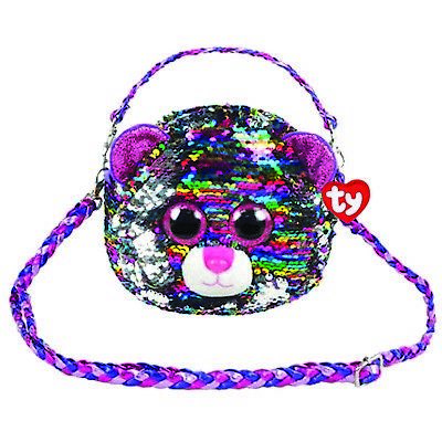 Ty Beanie Fashion 95124 Dotty Rainbow Leopard Shoulder Bag Sequin Flippable • 14.50£