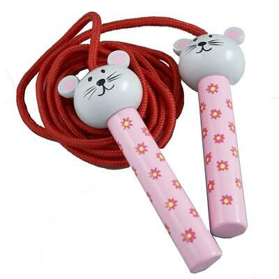 Mouse Red Skipping Jump Rope Wooden Handle Childrens Indoor Outdoor Exercise • 8.99£