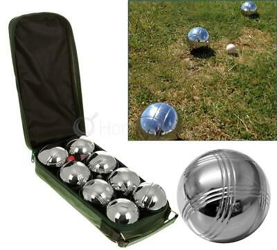 Set 8 Stainless Steel French Boules Balls Petanque Jack & Carry Case Garden Game • 26.99£