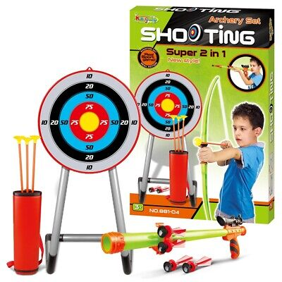 Kids 2 In 1 Large Bow & Arrow Set Archery Toy Bolt Gun Shooting Target Game Boys • 17.99£