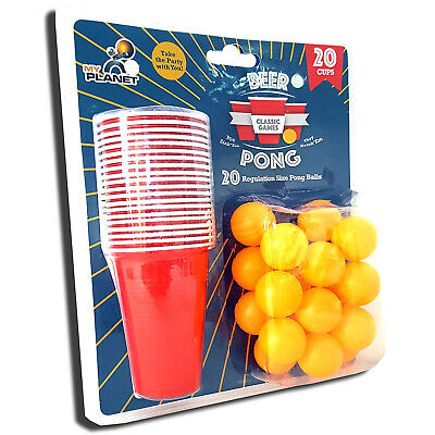 Ultimate 40 Piece Beer Pong Drinking Game Party Set 20 Balls + 20 Large Red Cups • 9.99£