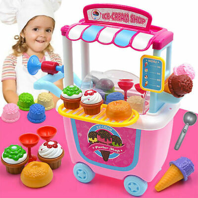 Kids Simulation Ice Cream Shop Dresser Cart Pretend Role PlaySet Fancy Toys Gift • 13.99£