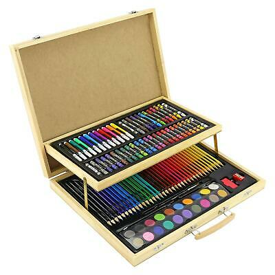 108pc WOODEN ART CASE COLOURING PENCILS PAINTING SET CHILDRENS ADULTS • 14.95£