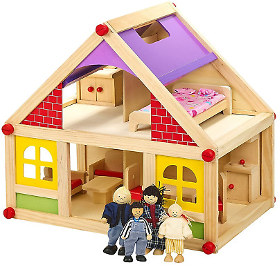 13pc Children's Toy Wooden Doll House With Furniture & Figures People Kids Fun • 22.95£