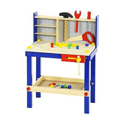 34 Piece Wooden Tool Work Bench Table & Tools Children's Kids Play Toy Xmas Gift • 34.95£
