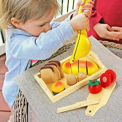 8 Piece Kids Childrens' Wooden Pretend Play Food Kitchen Baking Bread Set Toys • 7.95£