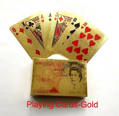 Gold Plated Playing Cards Poker Deck Gift Waterproof UK Pound Queen Money Cards • 3.99£