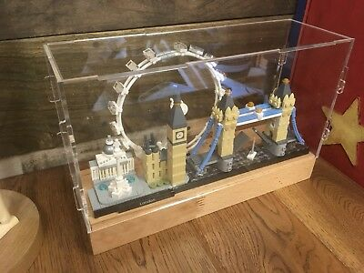 Deluxe Hardwood & Clear Acrylic Display Case For LEGO Architecture London • 34.99£