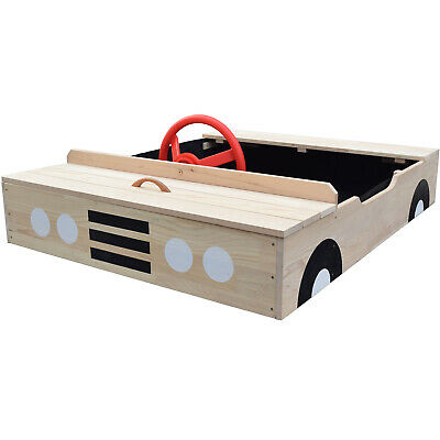 Car Shaped Wooden Sandpit With Bench Seat, Weatherproof Cover And Underlay • 88£