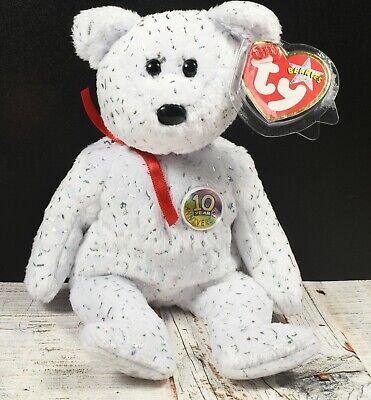 Ty Retired Beanie Babies Bear ~ Decade~ White Spangly VGC With Tags ©2002 • 6.99£